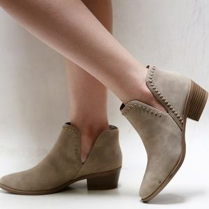 New Taupe Braided V Cutout Ankle Boots Booties